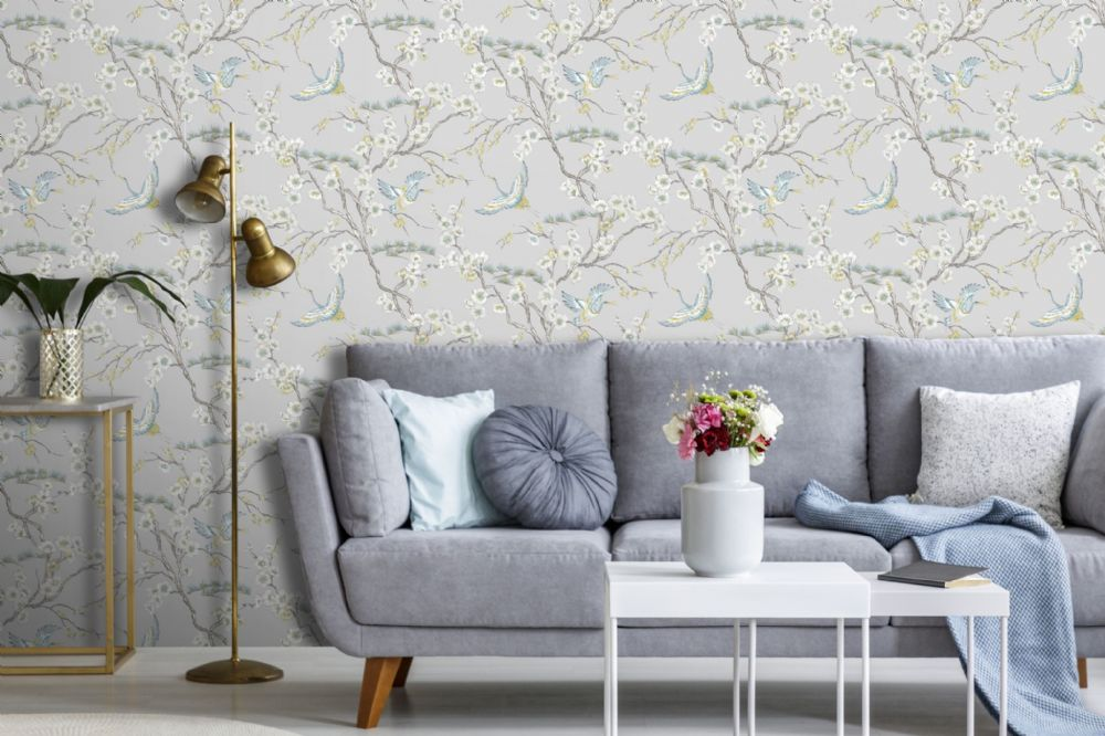 Graham and Brown Japan Grey/Blue 106565 Wallpaper PB